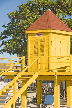 lawrence: colorful lifeguard station Dover Beach St. Lawrence Gap Barbados