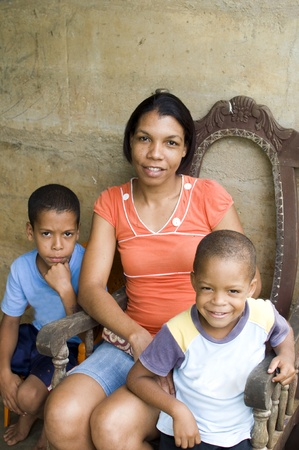 mother with children house Nicaragua Corn Island Stok Fotoğraf