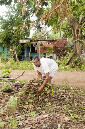 emaciated: native Nicaraguan man gathering wood brush for burning fire with zinc wood house Corn Island Nicaragua