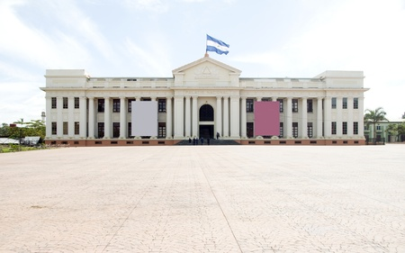 the National Palace and Culture Museum Plaza of Revolution in Managua Nicaragua Central America with national flag flying  Banco de Imagens