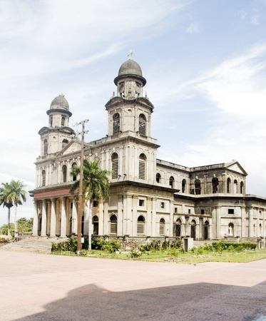 Cathedral of Santiago Managua Nicaragua on Plaza of the Revolution 版權商用圖片