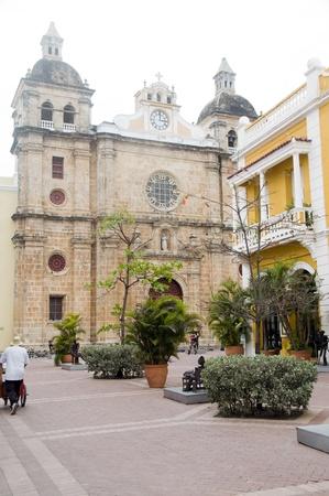 san pedro: Iglesia Church of San Pedro Claver on Plaza Cartagena de Indias Colombia South America Stock Photo