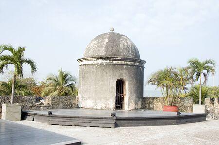 sentry: Baluarte de San Francisco bastion Baroque sentry box  lookout Cartagena de Indias Colombia South America