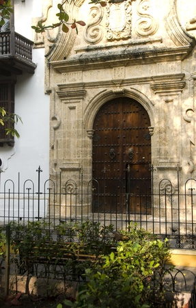 historical architecture entry Palace of the Inquisition Museum Historical of Cartagena de Indias Colombia at Bolivar Park photo