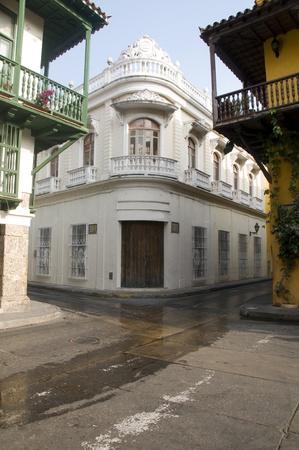 historic architecture entry famous department store Bolivar Park Cartagena Colombia