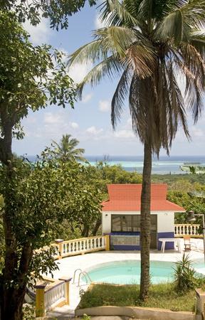 cabana: panorama swimming pool cabana beach San Andres Island Colombia South America Caribbean Sea view Stock Photo