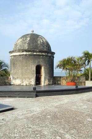 sentry: Baluarte de San Francisco bastion Baroque sentry box  lookout The Wall Cartagena de Indias Colombia South America