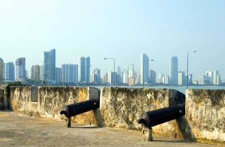 walled: historic cannons fortress The Wall Cartagena Colombia South America  view Bocagrande beach resort