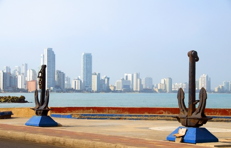 anchor sculpture harbor of Cartagena Colombia South America  view Bocagrande beach resort
