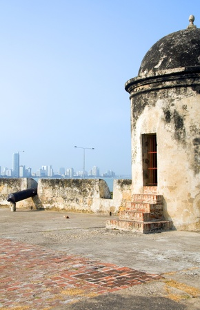sentry: The Wall sentry box lookout with cannon view of Bocagrande beach Cartagena Colombia South America