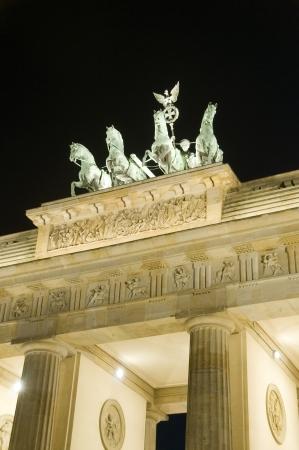 Brandenburg Gate Berlin Germany Europe night light scene sculpture detail  Banco de Imagens