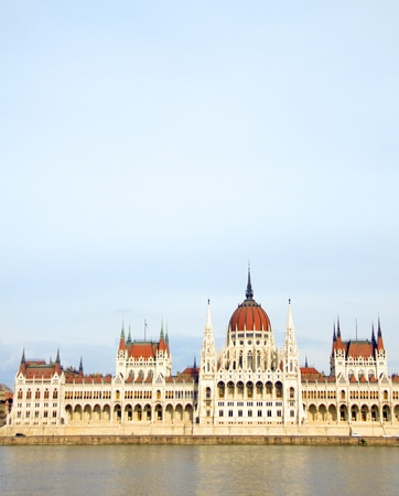 palatial: The Hungarian House of Parliament Budapest Hungary on the Danube River Stock Photo