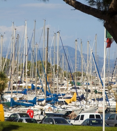 cote d'azure: sailboats yachts in packed harbor port Antibes Cote d Stock Photo