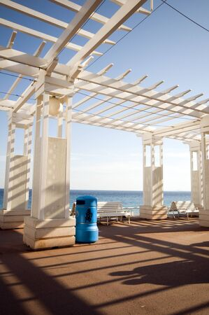 gazebo: gazebo shade structure benches seafront Promenade de Anglais Nice France Cote dAzur French Riviera Europe