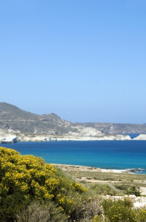undeveloped: undeveloped limestone beach Mediterranean Sea Milos Greek Island Cyclades Greece