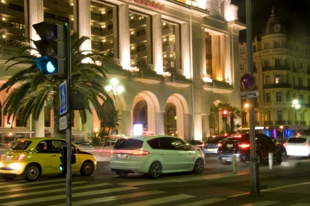Promenade de Anglais casino architecture  boulevard cars night light Nice France French Riviera Europe