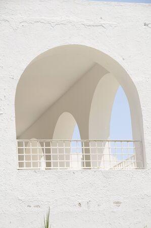Tunisia Africa Sidi Bou Said building with classic white architecture arches
