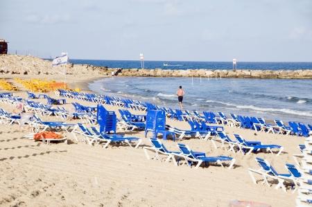lounge: beach lounge chairs Mediterranean Sea Jaffa Tel-aviv Israel