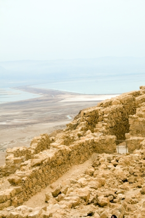 judaean desert: ruins of Masada the ancient fortress in the Judean Desert overlooking the Dead Sea Israel Asia the Middle East Stock Photo