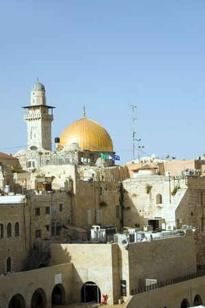 israeli: The Dome of The Rock and  Ghawanima Minaret from The Western Wall with Israeli flag Jerusalem Palestine Israel