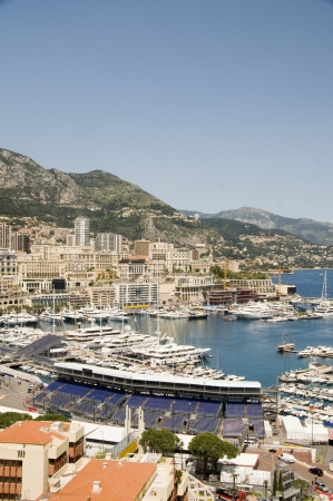 vertical composition: panorama Monte Carlo harbor yachts Monaco during Grand Prix auto race vertical composition Stock Photo
