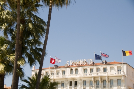 famous industries: CANNES-MAY 16  The Splendid Hotel is a famous old hotel which attracts tourists and celebrities all year long and is seen here during the Cannes Film Festival on May 16, 2012