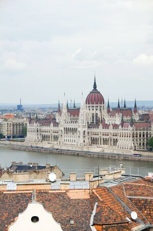 stock vista: Budapest Hungary cityscape landscape panorama with Parliament building on Danube River