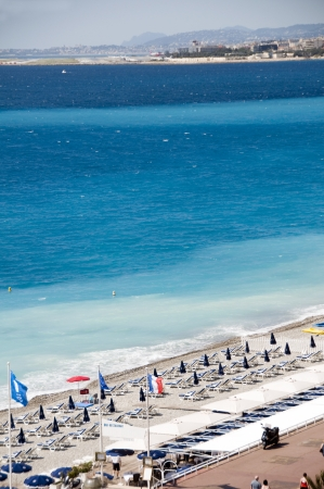 The French Riviera Cote d'azur Nice France beach on famous Promenade des Anglais  boulevard