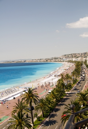 The French Riviera Cote dazur Nice France beach on famous Promenade des Anglais hotel lined boulevard
