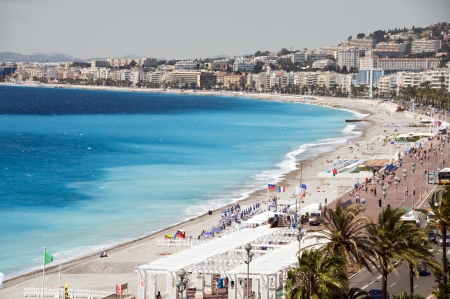 cote d'azur: The French Riviera Cote dazur Nice France beach on famous Promenade des Anglais hotel lined boulevard