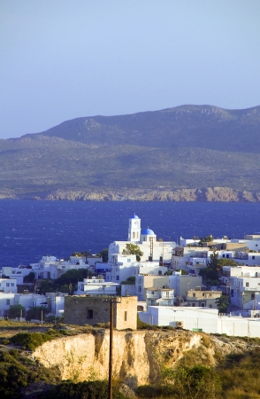 panoramic view of Adamas Plaka typical Greek island Cyclades architecture Milos Greece on Mediterranean Aegean Sea photo