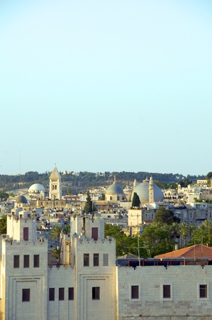 rooftop view Jerusalem Palestine Israel architecture with blue dome mosque Mount of Olives temples churches Imagens
