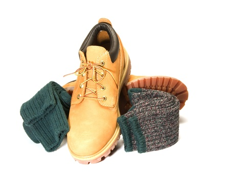 rugged outdoor low cut oxford work shoe boot with warm colorful ragg socks photo