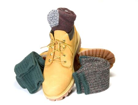low cut: rugged outdoor low cut oxford work shoe boot with warm colorful ragg socks