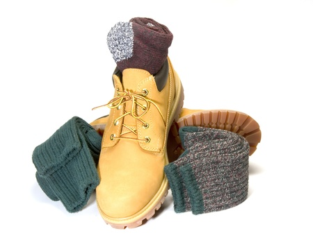 men s boot: rugged outdoor low cut oxford work shoe boot with warm colorful ragg socks