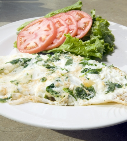 Florentine spinach egg white omelette feta cheese  tomato and lettuce