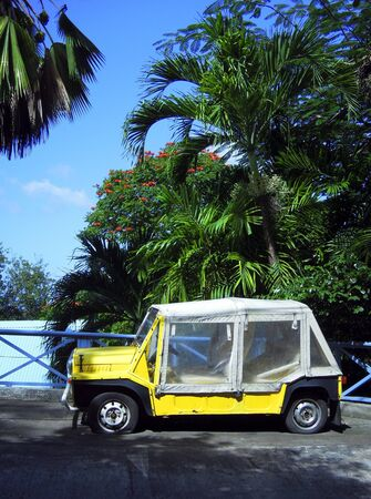 grenadines: island vehicle with flat tires by palm trees Bequia St  Vincent and the Grenadines