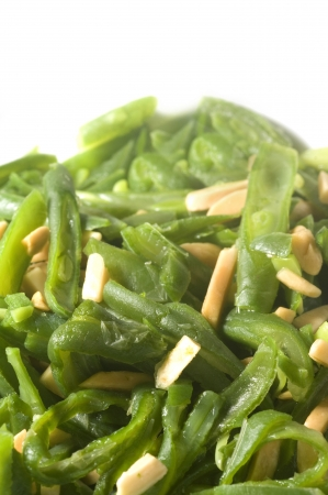 green string beans French cut with almond slivers