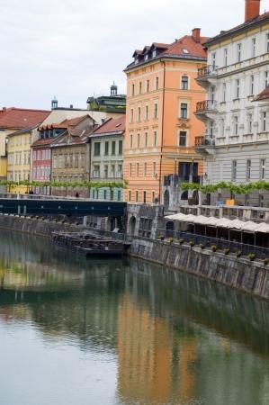 historic buildings old city on Ljubljanica River Ljubljana capital of Slovenia Europe