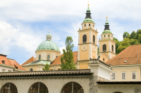 Ljubljana Cathedral St. Nicholas Church Slovenia Europe in old town Imagens