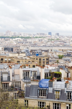 cur: rooftops of Paris France Europe cityscape from Basilica of the Sacr� C�ur Sacred Heart in  Montmartre the highest point in the city Stock Photo