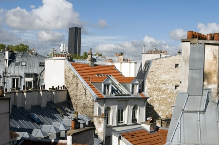 rooftops of Paris France Europe tallest office building Montparnasse Tour Tower in distance