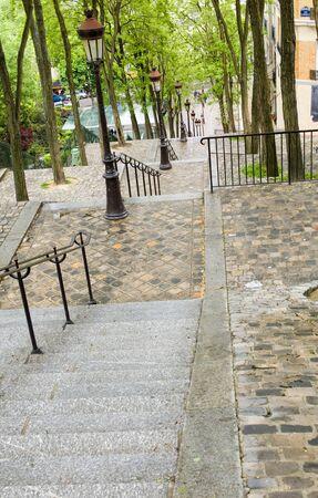 tiled steps butte walk up to top of Basilica Sacre Coeur Sacred Heart in Montmartre Paris France Stock fotó