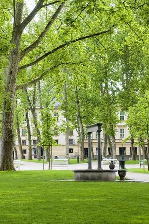 Congress Square outdoor garden park with fountain statue Ljubljana Slovenia Europe Imagens