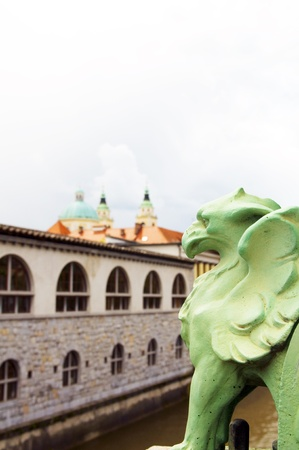 Dragon Bridge view of Cathedral Saint Nicholas on Ljubljanica River Ljubljana Slovenia Europe