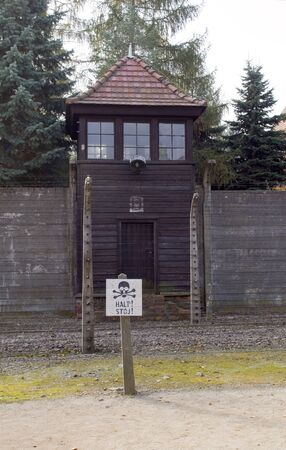 guard house: Nazi guard tower house by barracks Auschwitz German Nazi concentration camp Auschwitz-Birkenau Museum Poland Editorial