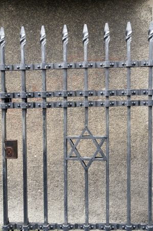 wrought iron entry gate star of David to Jewish Museum Prague Czech Republic