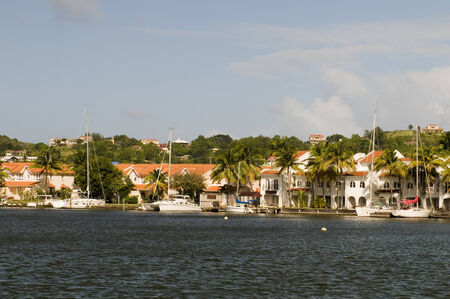 st lucia: Rodney Bay yachts sailboats St  Lucia Island in Caribbean Sea with condos waterfront Editorial
