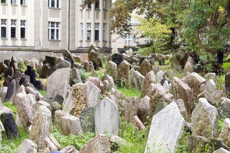 jewish quarter: Old Jewish Cemetery in Jewish Quarter Prague Czech Republic crammed gravestones next to The Jewish Museum