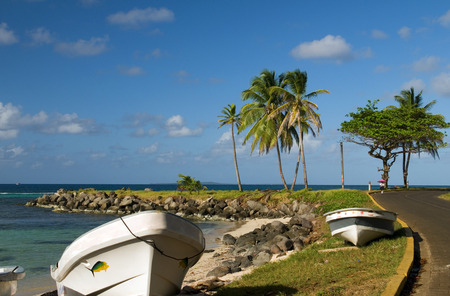 north   end: panga native boats on shore North End Big Corn Island Nicaragua Central America